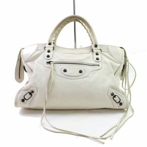 The City 866187 Ivory Leather Shoulder Bag